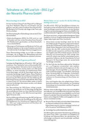 """Patienteneinwilligung zu """"MS und Ich – EKG 2 go"""" und Registrierungsformular zum """"MS und Ich""""-Therapiebegleitprogramm"""