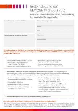Protokoll der kardiovaskulären Überwachung von kardialen Risikopatienten bei Ersteinstellung auf MAYZENT®